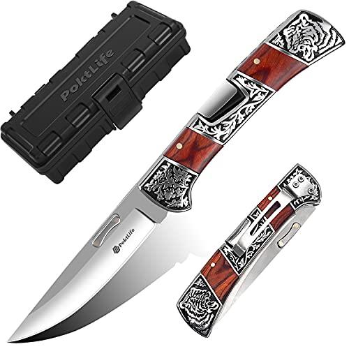 Poktlife Klappmesser,Taschenmesser mit Holzgriff,Outdoormesser aus Edelstahl,Survival Messer für Arbeit Wandern Camping,kreatives Geschenk (Rotes Holzes)