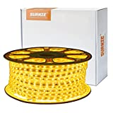 SURNIE Waterproof Rope Lights Outdoor 150ft Flat Strip Led Lights 110V Warm White Led Rope Lighting Cuttable Connectable, for Deck Patio Backyards Indoor Outside Decorative Lighting
