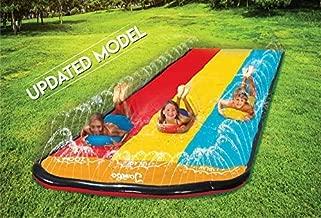 Jambo Triple Lane Slip, Splash and Slide (Newest 2021 Model) for Backyards  Water Slide Waterslide with 3 Boogie Boards   16, Foot 3 Sliding Racing Lanes with Sprinklers   Durable PVC Construction