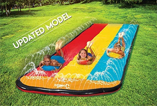 Triple Lane Slip, Splash and Slide (Updated 2020 Model) for Backyards| Water Slide Waterslide With 3 Boogie Boards | 16 Foot, 3 plasSliding Racing Lanes & Sprinklers | Durable Quality PVC Construction