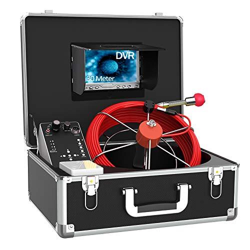 Telecamera per Ispezione Tubi con Contatore di Distanza, 30M DVR Videoispezione Tubo Telecamera per Fognatura IP68 Impermeabile Endoscopio Videocamera di Ispezione del Tubo di Scarico Rilevatore Tubi