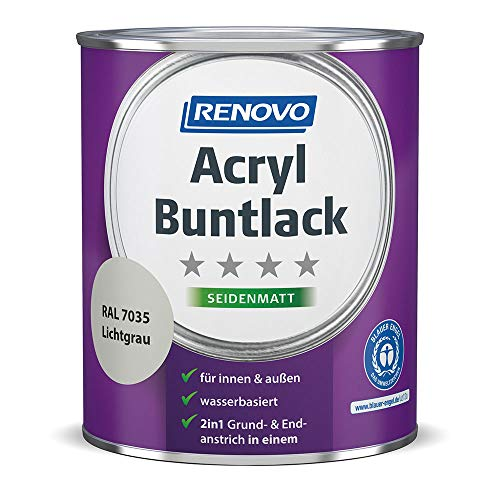 Renovo 2 in 1 Acryl Buntlack, 0,75 Liter 7035 Lichtgrau seidenmatt