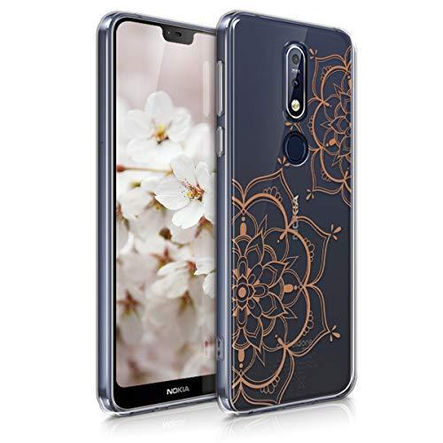 kwmobile Hülle kompatibel mit Nokia 7.1 (2018) - Hülle Handy - Handyhülle Blumen Zwillinge Rosegold Transparent
