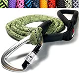Enthusiast Gear Climbing Rope Dog Leash with Locking Carabiner for Large and Medium Breeds | Sturdy and Durable with Reflective Braiding and Comfortable Padded Grip (6' Foot) - Green