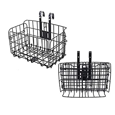 Chanwei Folding Bike Basket, Rust Proof Removable Bike Wire Basket, Easy Installation on Front Handlebar & Rear Seat for Mountain Bike Accessories Frame Basket Bicycle Bag Cargo Rack