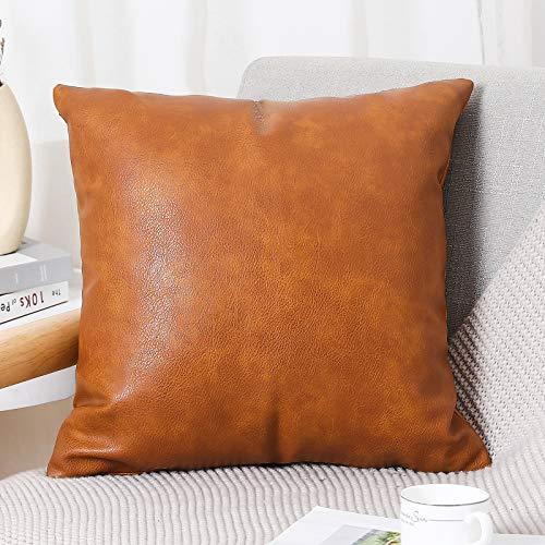 PANOD - Fundas de almohada de piel sintética de alta calidad, modernas y lujosas, cuadradas, para sofá, cama, coche, exteriores, 40,6 x 40,6 cm, color marrón