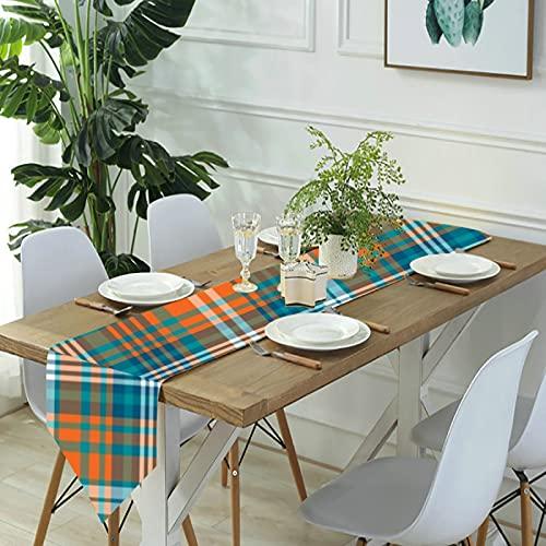 Reebos Camino de mesa de lino para aparador, camino de mesa de cocina, color azul y naranja para cenas de granja, fiestas de vacaciones, bodas, eventos, decoración - 33 x 70 pulgadas