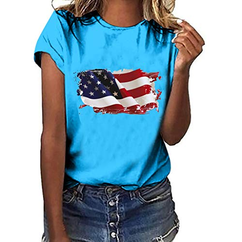 Randolly Women's Tops  Simple Leisure Plus Size National Flag Independence Day Print Short Sleeve T-Shirt Blue
