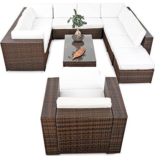 XINRO® erweiterbares 38tlg. Lounge Möbel Set Ecksofa Polyrattan - braun-Mix - Gartenmöbel Sitzgruppe Garnitur Loungemöbel XXXL - inkl. Lounge Ecke + Sessel + Hocker + Tisch + Kissen - 2