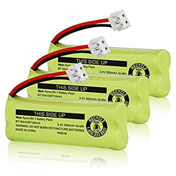 iMah BT18443/BT28443  end's Number 443 not 433  2.4V 500mAh Cordless Phone Battery Compatible with VTech LS6115 LS6117 LS6125 LS6126 LS6225 Wireless Telephone Pack of 3
