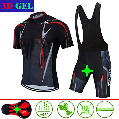 Camiseta de manga corta para hombre + medias de equitación acolchadas 3D de secado rápido para deportes al aire libre, ciclismo, S