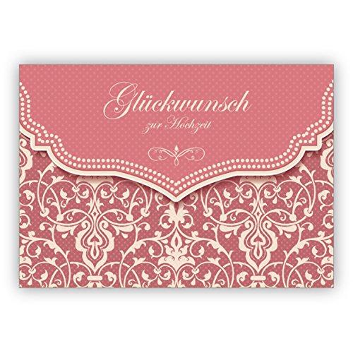 Vintage Hochzeitskarte mit Retro Damast Muster in zartem rosa: Glückwunsch zur Hochzeit • hochwertige Glückwunschkarte für Standesamt, Trauung
