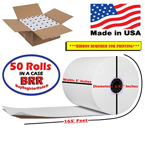 "50 Rolls 3"" x 165' Bond Receipt Paper POS Cash Register Impact, SP700, tmt-u220b Kitchen Printer Paper BuyRegisterRolls"