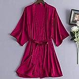 Kimono Mujer Bata Satinado V-Cuello Sólido Color Camisón Sling Bridesmaid Novia, Soft Cosy Loungewear Y Albornoz Utilizado Para Bodas Vestidos Casuales, Pijamas Caseros, Ropa De Maquillaje, Rojo De