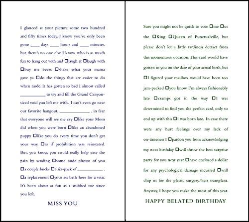 quiplip Funny Lückentext Miss You und Verspätete Geburtstag Karten, 6er Pack (ql04326pck)
