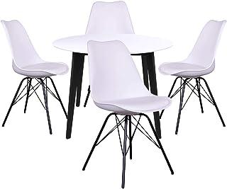 AltoBuy Gram - Ensemble Table Ronde Noire et Blanche + 4 Chaises Blanches