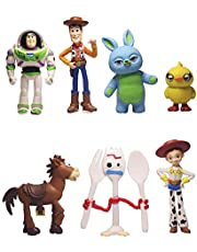 Set of 7 Mini Toy Story Figurines for Birthday Cake Topping Cute Set of Cake Topper Includes Woody, Jessie, Rex, Buzz Lightyear and More