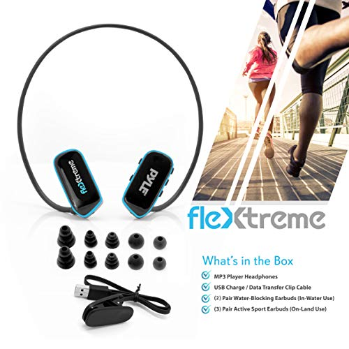 Waterproof MP3 Player Swim Headphone Submersible IPX8 Flexible WrapAround Style Headphones Builtin Rechargeable Battery USB Connection w/ 4GB Flash Memory & Replacement Earbuds Pyle PSWP6BK