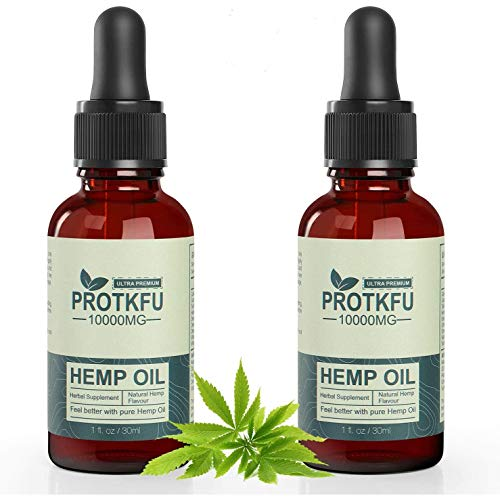 (2 Pack) 10000mg Organic Hemp Oil Pure Extract for Pain Relief, Relaxation, Better Sleep - Rich in Vitamin & Omega, Helps with Sleep, Skin & Hair, Improve Health Vegan Friendly