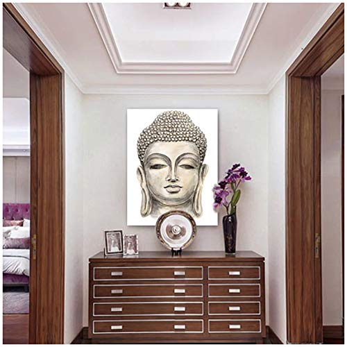 Modern HD Canvas Oil Paintings for Living Room Drawn Buddha Head Wall Posters Home Decor Picture-50X70cm No Frame