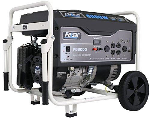 Pulsar 6,000W Portable Gas-Powered Generator with Wheel Kit, PG6000