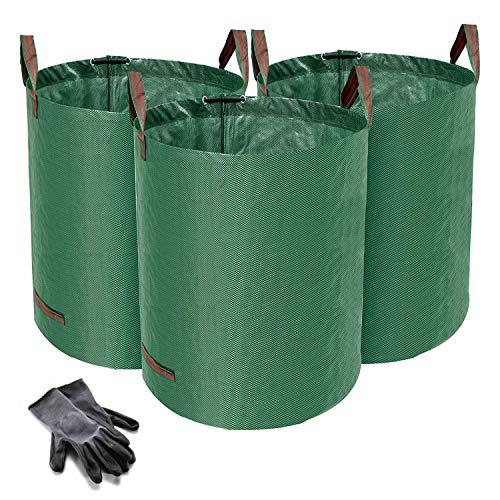 Norjews 3er Set Gartensack, 272L Gartenabfallsack aus robustem Wasserdichtes Polypropylen-Gewebe (PP) - Selbststehend und Faltbar Laubsäcke, inkl. Geschenk 1 Paar Gartenhandschuhe