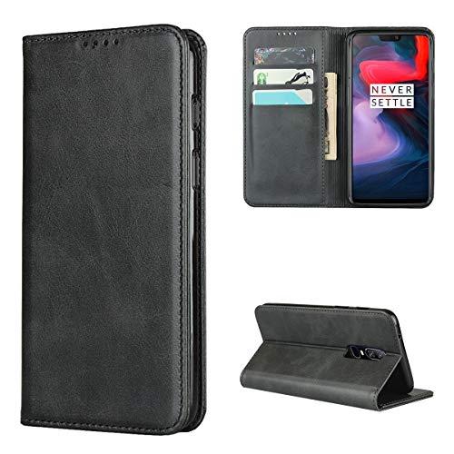 Copmob Hülle Oneplus 6,Premium Flip Leder Brieftasche Handyhülle,[3 Kartensteckplatz][Ständerfunktion][Magnetverschluss],Ledertasche Schutzhülle für Oneplus 6 - Schwarz