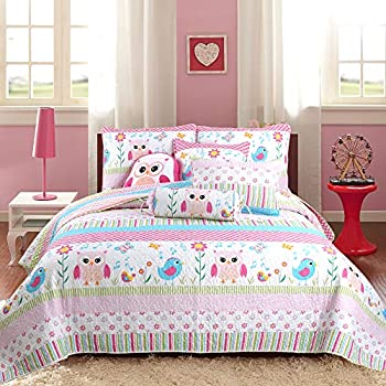 Cozy Line Home Fashions Happy Owl Pink Reversible Quilt Bedding Set Coverlet Bedspreads for Kids Girls  Happy Owl Full/Queen -3 Piece