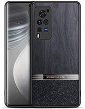 UBERANT Case for Vivo X60 Pro 5G, Anti Slip Wood Grain Texture Leather & PC Back + TPU Bumper Anti Fingerprint Shockproof ...
