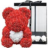 Oso de peluche con corazón de 40 cm, regalo para pareja, con caja de regalo o oso de rosas para San Valentín, cumpleaños, aniversarios, flores con tarjeta de regalo extra y rosas en caja