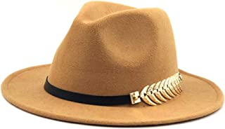 Hats and Caps Fedora Hat for Men Women Fedora Feather Leather Belt Wool Blend Hat Outdoor Casual Hat Top Jazz Hat European American Hat Panama Hat (Color : Khaki, Size : 56-58CM)