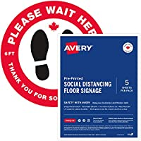 """Save on Avery""""Please Wait HERE"""" Social Distancing Floor Signage Decal, 10.5"""" Round, Red, Pack of 5 Labels, English..."""