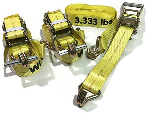 """Outdoor Power Deals 3 Pc Set 15 FT Heavy Duty Commercial 2"""" Ratchet Tie Down Straps 10000 Lbs J Hook Cargo Truck DOT Approved"""