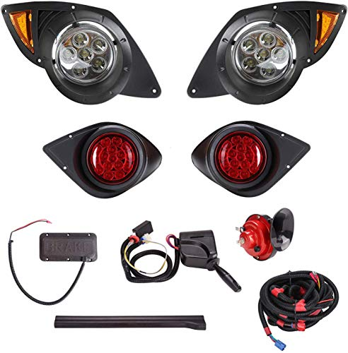 10L0L Golf Cart LED Light Kit for Yamaha G29 Drive 2007-up, Headlights taillights Turn Signals Hazard Brake Lights Horn