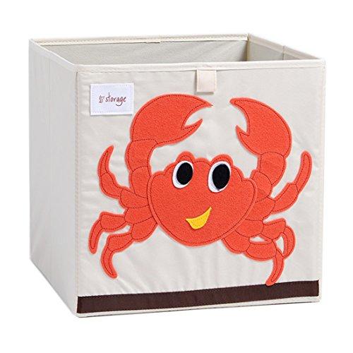DODYMPS Foldable Animal Canvas Storage Toy Box/Bin/Cube/Chest/Basket/Organizer for Kids, 13 inch (Crab)