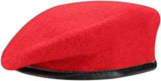 British Military Berets with Leather Sweatband, Adjustbale Army Black Wool Beret