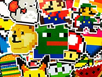 25 Videogame Gaming Retro Pixel Stickers Decal Set for Kids Adults - Laptop Computer Skateboard Phone Hydro Flask Decals