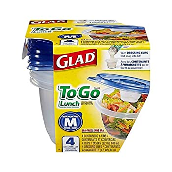 Gladware To Go Food Storage Containers | Glad Medium Size Round Food Storage That Holds up to 32 Ounces of Food Solids or Liquids | 32 oz Containers 4 Count Set