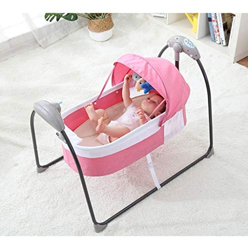 Best Deals! Rocking Chair Electric Cradle Baby Cot Foldable Portable Baby Cradle Mosquito Net with B...