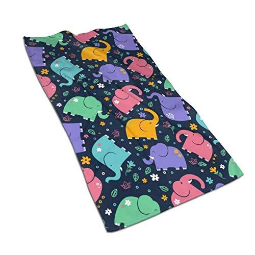 Toallas de Mano de Elefante de Nariz Larga y Coloridas Toalla de Microfibra Decorativa Suave para la Punta de los Dedos Toalla Multiusos Altamente Absorbente, 27.5x15.7 In