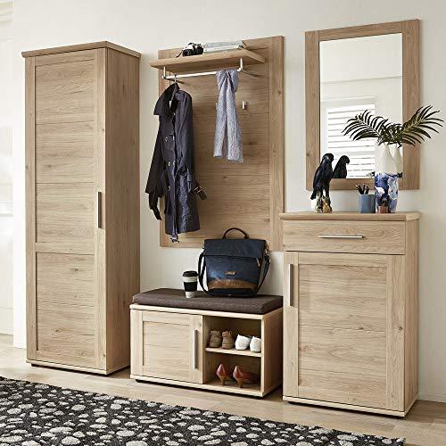 Lomadox Garderobenkombination 5-teiliges Komplett Set, Flur Garderobe, 234 x 196 x 40 cm, Holzdekor Jackson Eiche