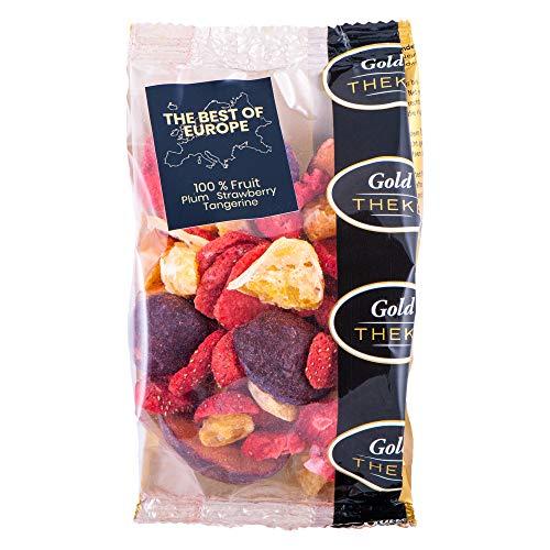 GoldTHEKE BEST OF EUROPE, gefriergetrocknete Fruchtmischung aus Erdbeere, Mandarine und Pflaume - 100% gefriergetrocknetes Obst, 0% Zusatzstoffe (Best of Europe, 60 g)