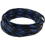 Othmro Geflochtene Kabelmuffe, 3,5 cm x 4,5 m, erweiterbar, Schwarz / Blau, 1 Stück