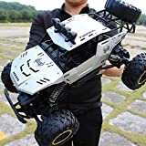 【US Stock】 4X4 Rc Rock Crawler - Waterproof Rc Car High Speed Remote Control Car for Kids Adults - 2.4Ghz Road Monster Trucks Excitement in Water, Mud and Snow-Trucks Toy Gifts for Boys (Silver)
