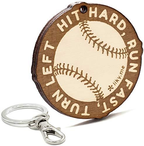 LIKY Baseball – Schlüsselanhänger aus Holz graviert für Damen und Herren Fans von Sport Anhänger Glücksbringer Schmuck für Taschen und Rucksäcke Geschenk zum Geburtstag