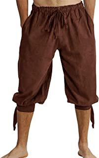 FUERI Mens Banded Shorts Lace Up Medieval Renaissance Viking Gothic Costume Pirate Pants Cosplay Trousers