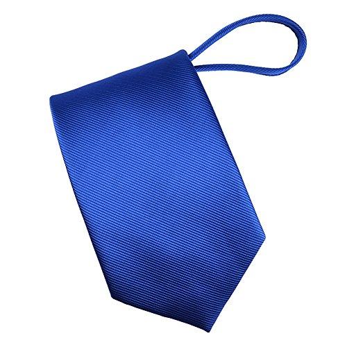 Mens Zipper tie Solid Color Mens Neck Tie (Royal Blue)