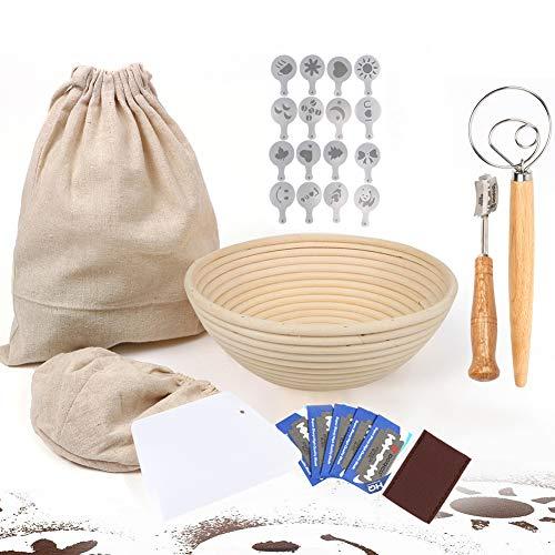 27 Pieces Banneton Proofing Bread Basket-Sourdough Baking-9inch Baking Bowl Dough/Danish Dough Whisk Bread Mixer/Lame Slashing Tool/Dough Bowl Scraper/Bread Stencils/Cloth Liner/Storage bag
