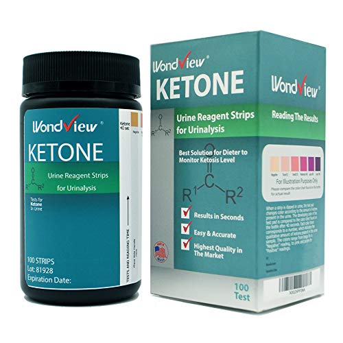 Wondview Ketone Test Strips: Testing Ketosis Based on Your Urine, 100 Ketone Urinalysis Tester Strips