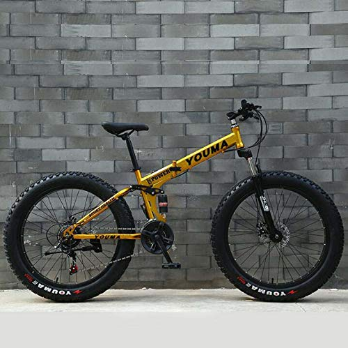 Bicicleta de montaña plegable Bicicleta para adultos, suspensión completa Marco de acero de alto carbono Bicicleta MTB con ruedas de aleación de magnesio Doble disco de freno,Oro,24 inch 27 speed